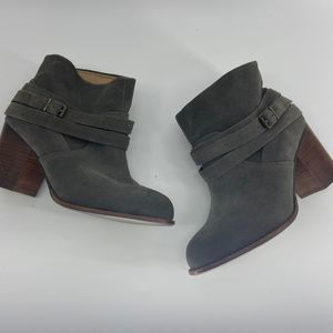 Splendid Gray Leather Suede Buckle Heeled Bootie